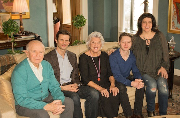 "Playwright Terrence McNally (from left), with cast members Frederick Weller, Tyne Daly and Bobby Steggert, and Director Sheryl Kaller, are delighted that McNally's newest play, ""Mothers and Sons,"" has arrived on Broadway."