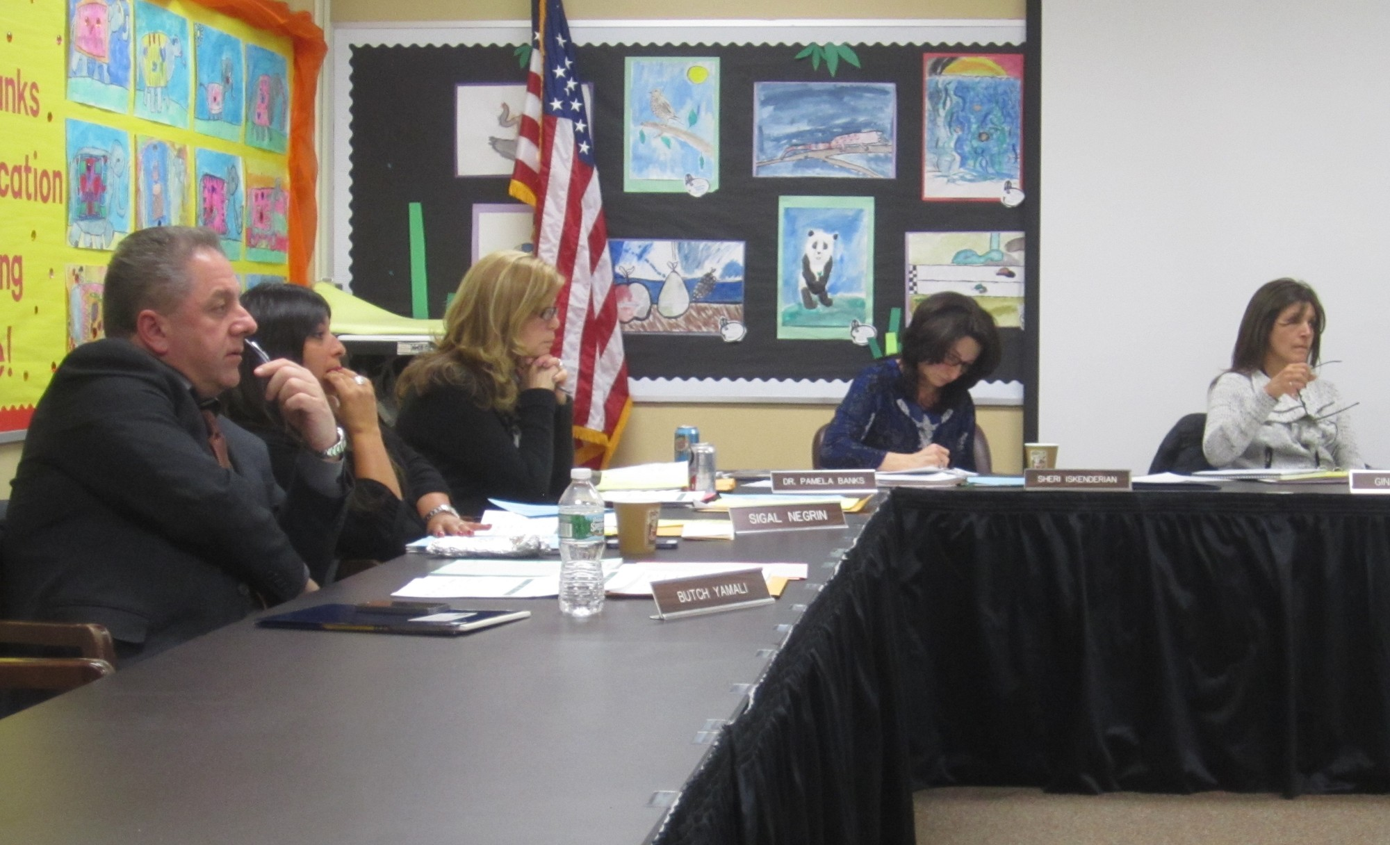The Merrick Board of Education did not vote on a measure that would have extended tax breaks to local veterans. Above, the Merrick School District Board of Education met earlier this year.