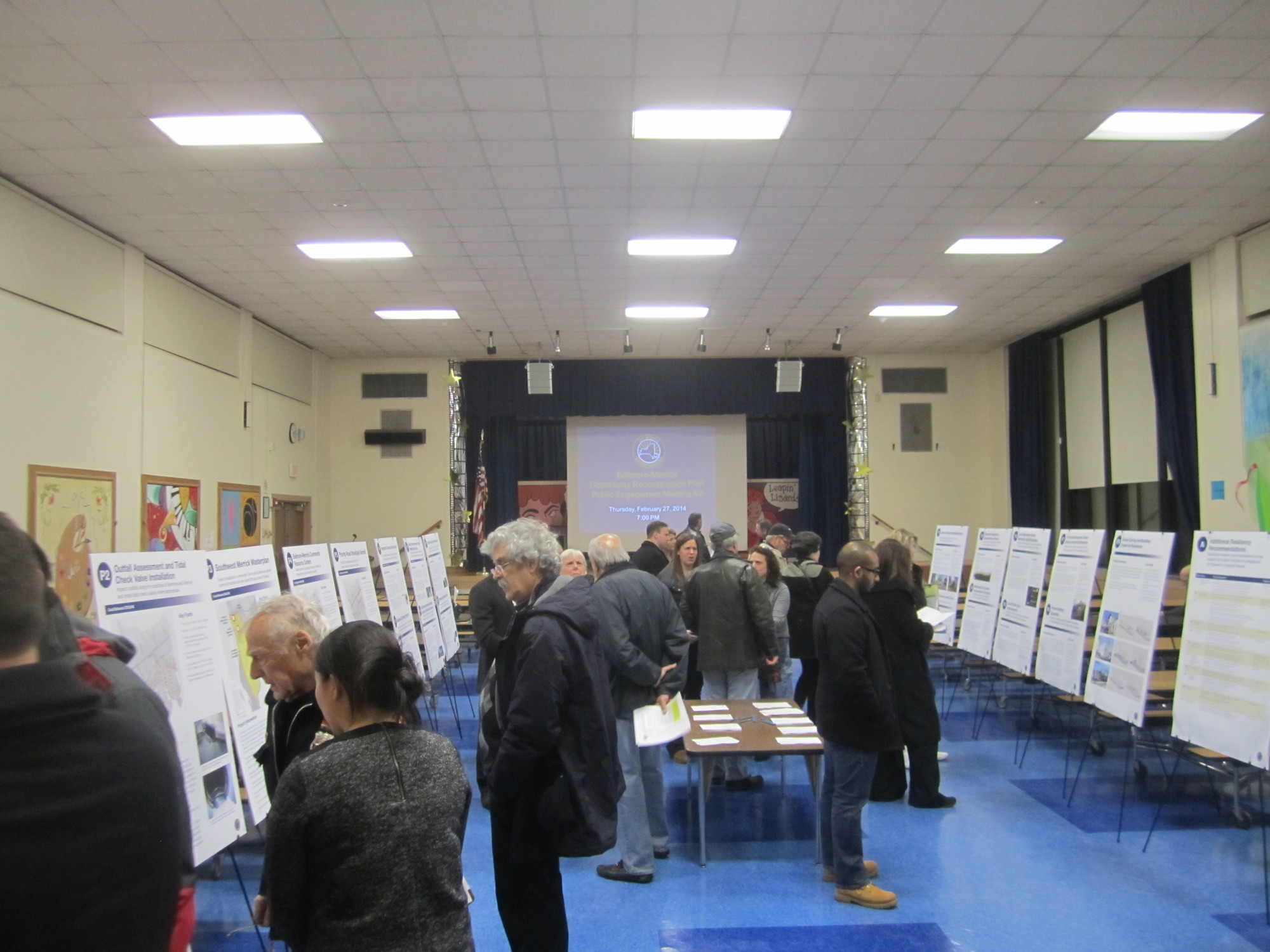 The New York Rising Community Reconstruction Program Bellmore-Merrick Planning Committee held its third public-engagement meeting on Feb. 27 at Levy-Lakeside Elementary School in Merrick. Poster boards set up on easels described several of the projects under consideration.