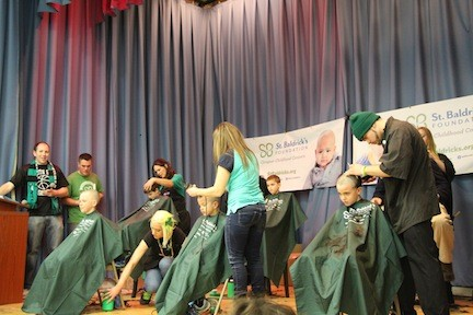 Shavers from the Eastern Suffolk Boces Brookhaven Technical Center got lots of practice on Saturday, shaving more than 100 heads of people who were supporting the St. Baldrick's Foundation.