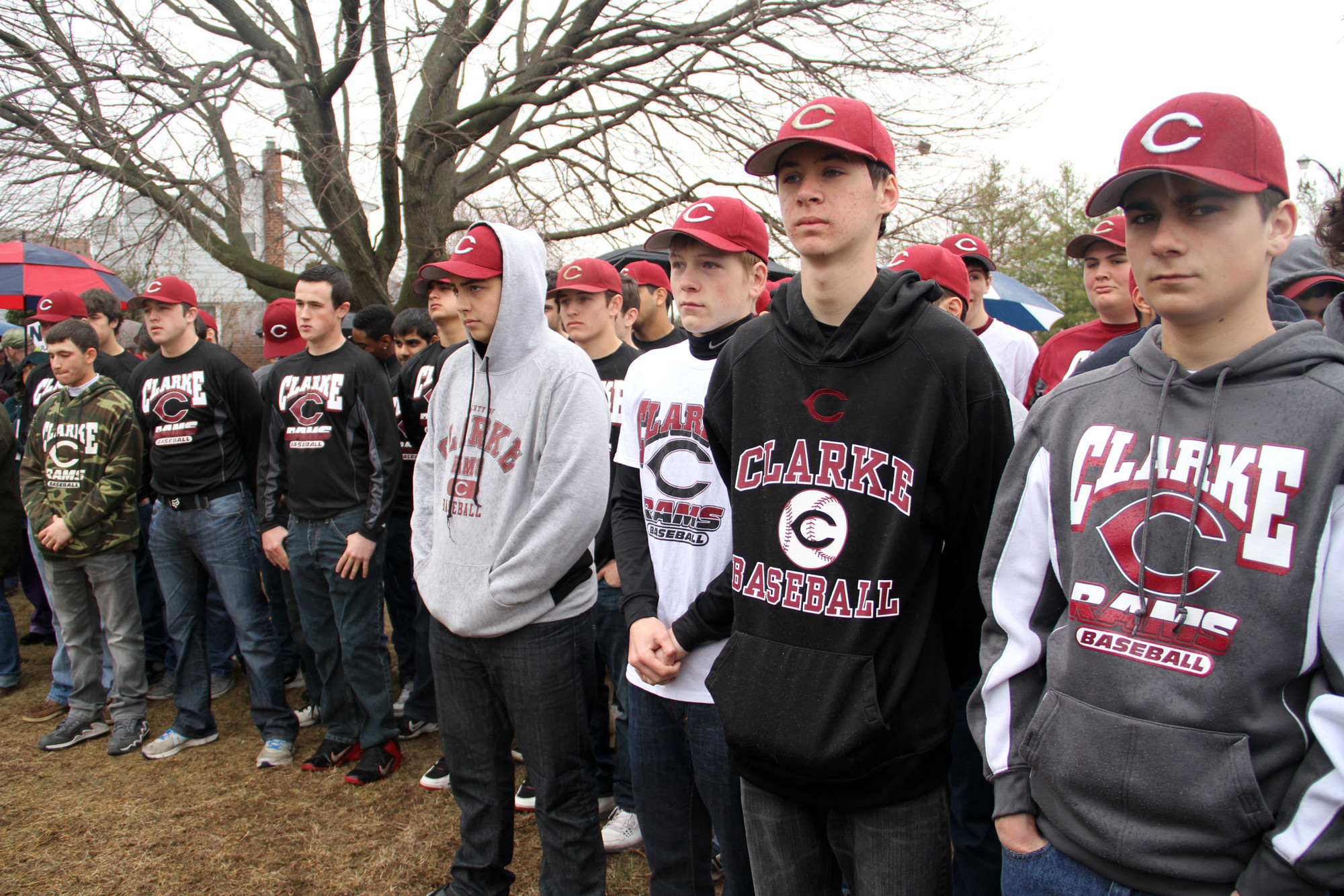 Clarke's varsity and junior varsity baseball teams attended the ceremony to show their support. Pitone's youngest son, Kyle, is a JV player.