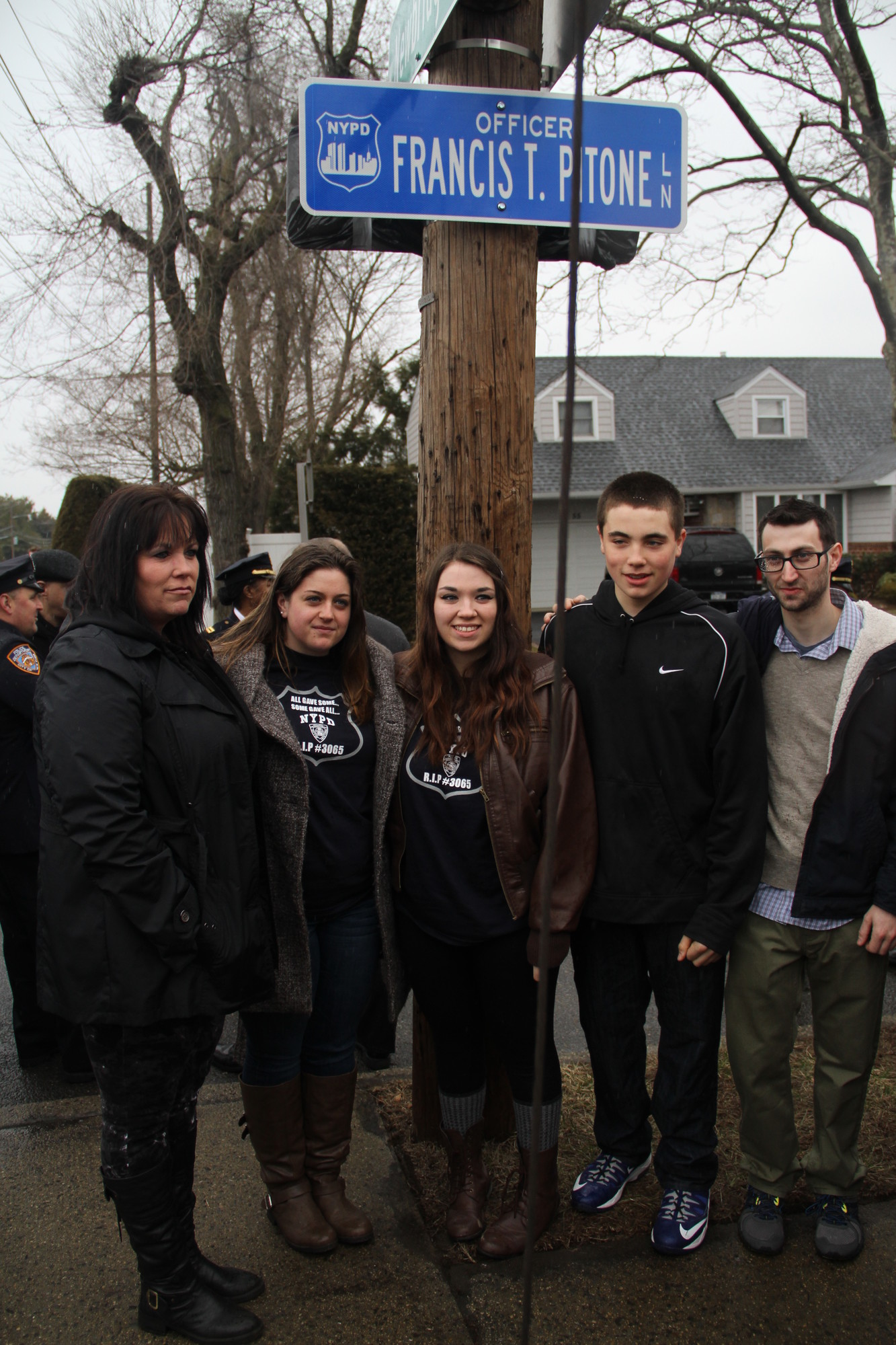 The Pitone family, from left, Linda, Nicole, Shannon, Kyle and Erik, during last Saturday's street dedication ceremony.