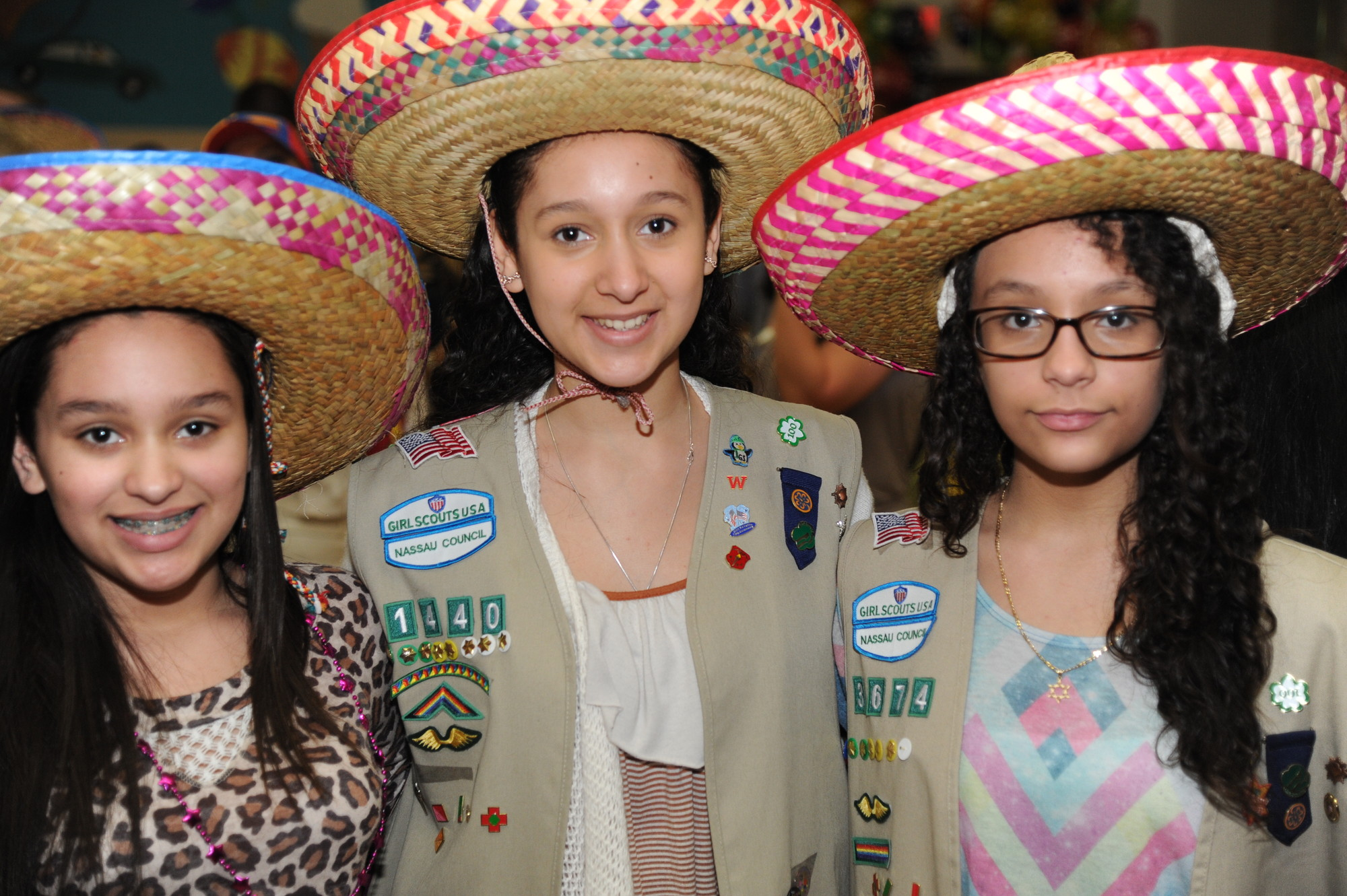 Melina Ramirez, 15, middle, with sisters Sofie, 13, left, and Gillian, 12, showed pride in their Latin roots.