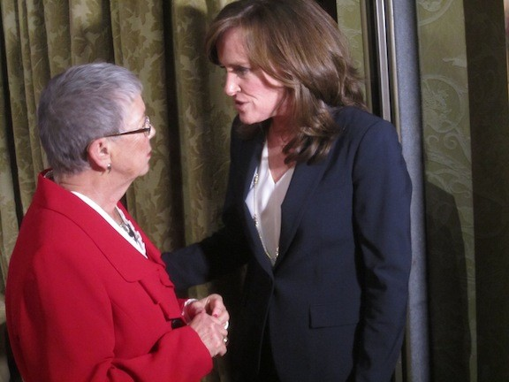 McCarthy chatted with Nassau County District Attorney Kathleen Rice, who hopes to succeed her in Congress.