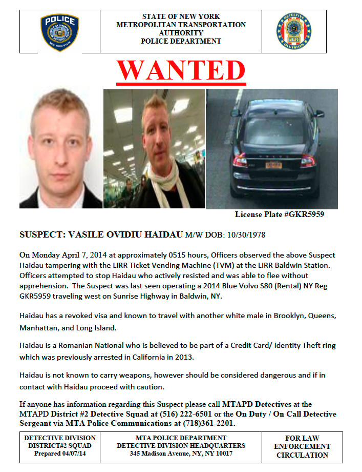 The MTA police released Tuesday afternoon this corrected wanted poster of the man they suspect of tampering with Baldwin LIRR station ticket vending machines. An earlier version of the poster had an incorrect license plate number.