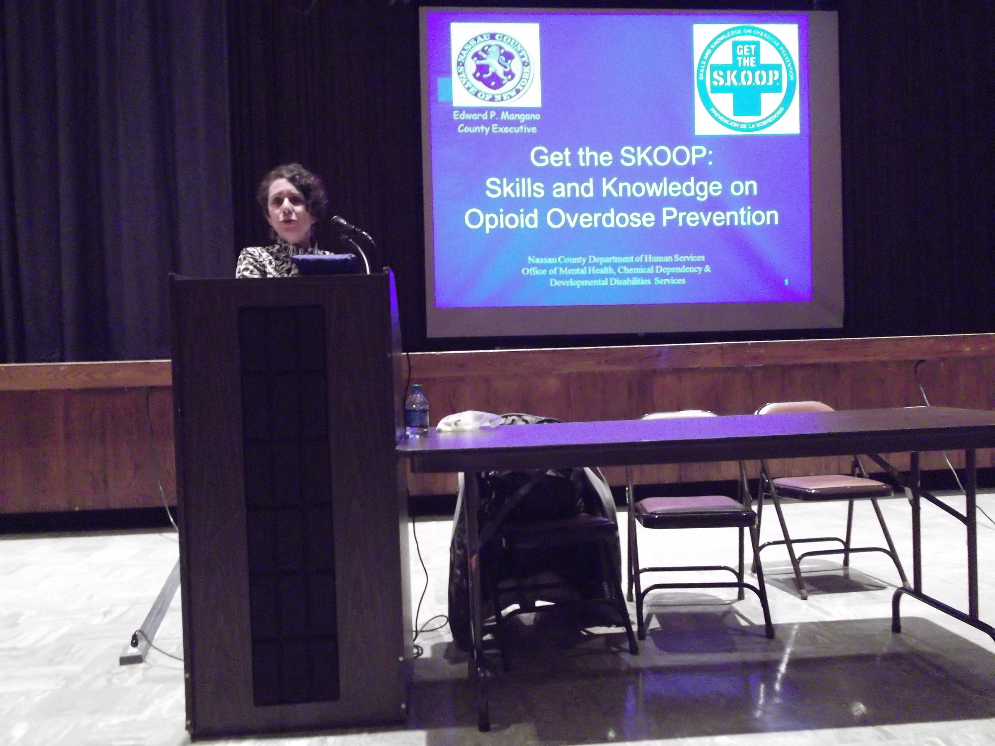 Felicia Schneberg, director of education and training at the Nassau County Office of Mental Health, Chemical Dependency and Developmental Disabilities Services, recently showed participants in a Central District seminar how to assemble intranasal inhalers used to administer Narcan, an opioid antidote.