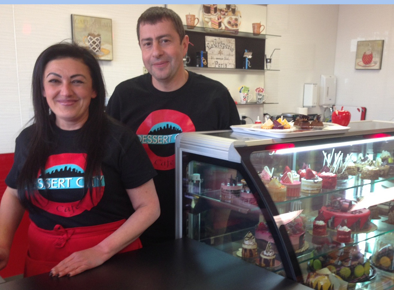 Boris and Yana Abramovich opened Dessert City Café, on Merrick Road in Merrick, last week. The economy and the weather have been rough on local merchants, but business is improving, they say.