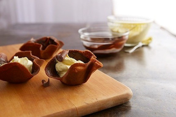 Chocolate cups are an appealing, festive dessert.