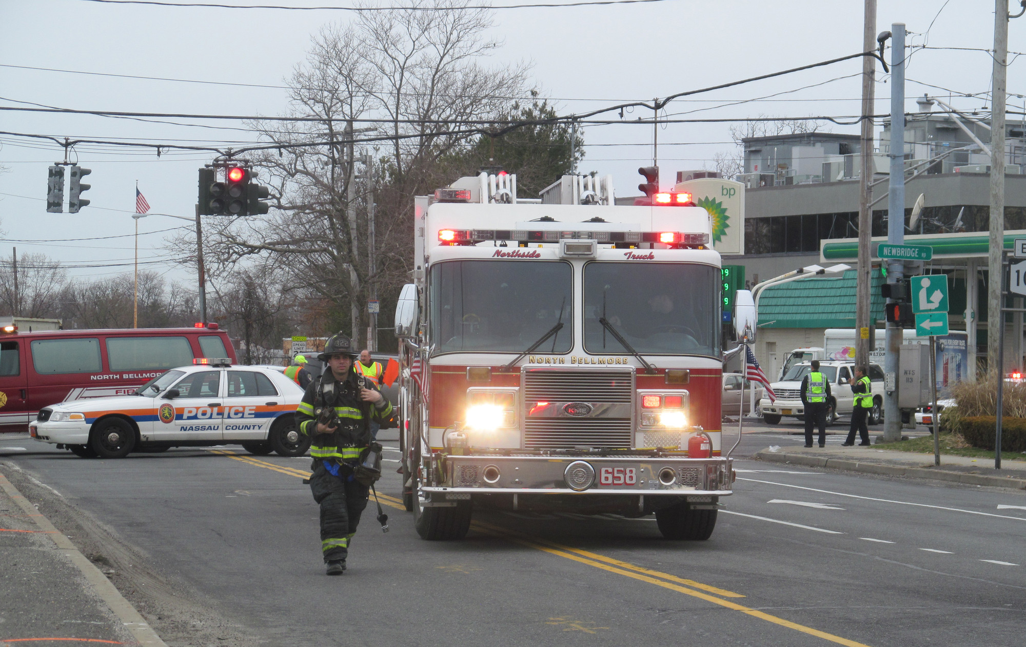 North Bellmore Fire Department officials were on hand when part of Jerusalem Avenue was closed because gas was smelled last week.