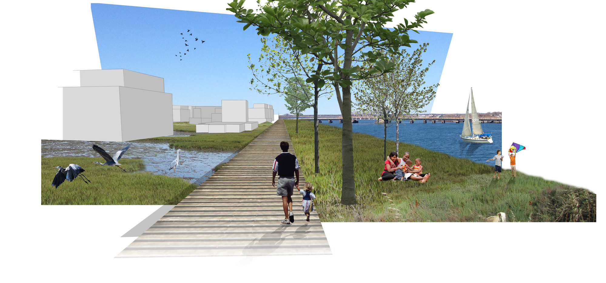 A Dike along Reynolds Channel would serve as protection from 12-foot storm surges, but would also include a bayside park.