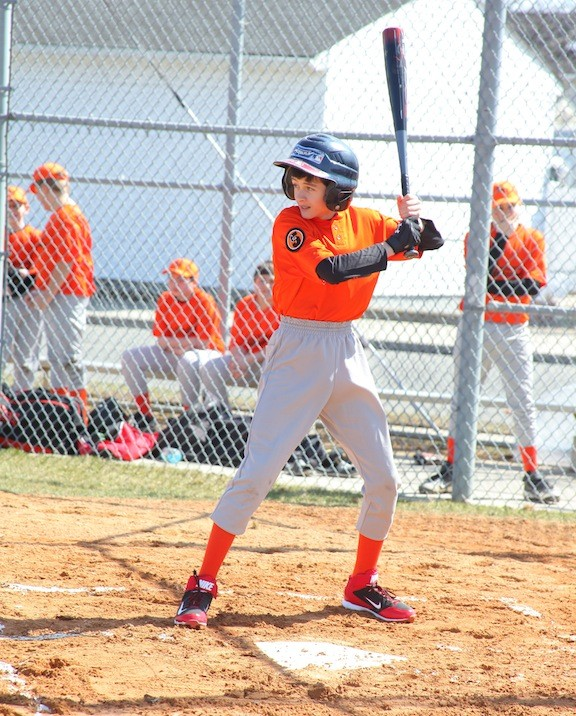First at bat for the orange team was Anthony Sapporito.