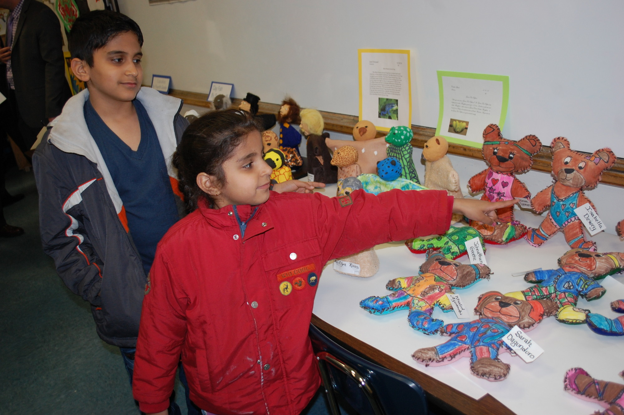 Devansh Sehgal, a fifth-grader at Brooklyn Avenue School, and his sister, Holishka, a first-grader, showed off their three-dimensional art projects.