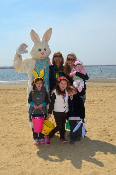 The Easter Bunny with Debbie, Kristin, Shea - 6 months old, Emma - 5 years old, Abigal - 5 years old, Brennan - 3 years old.