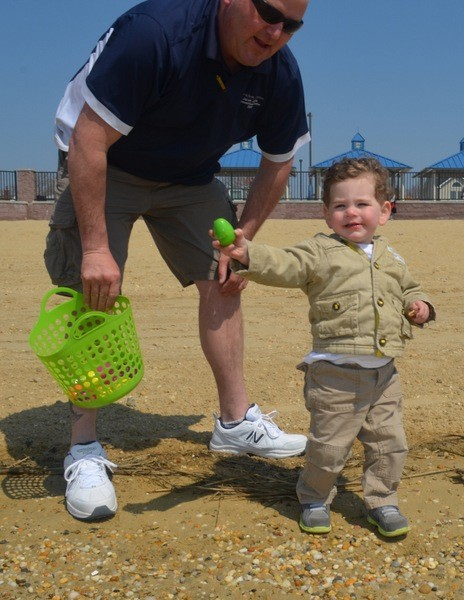 Mason McKeon, 2 years old from East Rockaway found an egg!