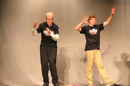 John Boles and Connor Byrne boogied on down at the 36th Annual Intergenerational Sharing Conference on April 11.