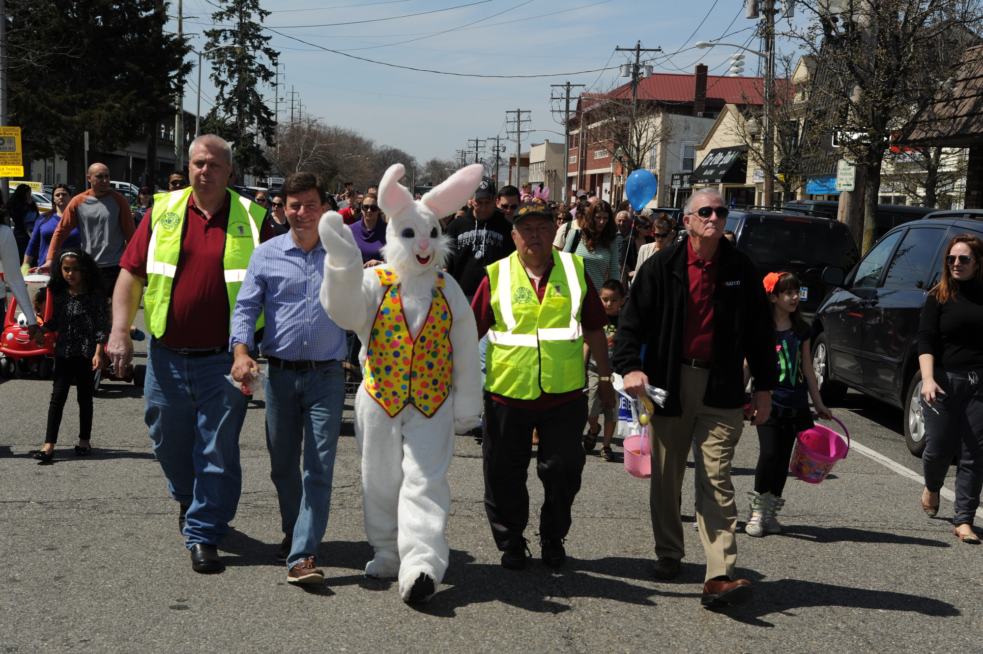 Board members of the Chamber of Commerce of the Bellmores and local officials led the parade, along with the Easter Bunny.