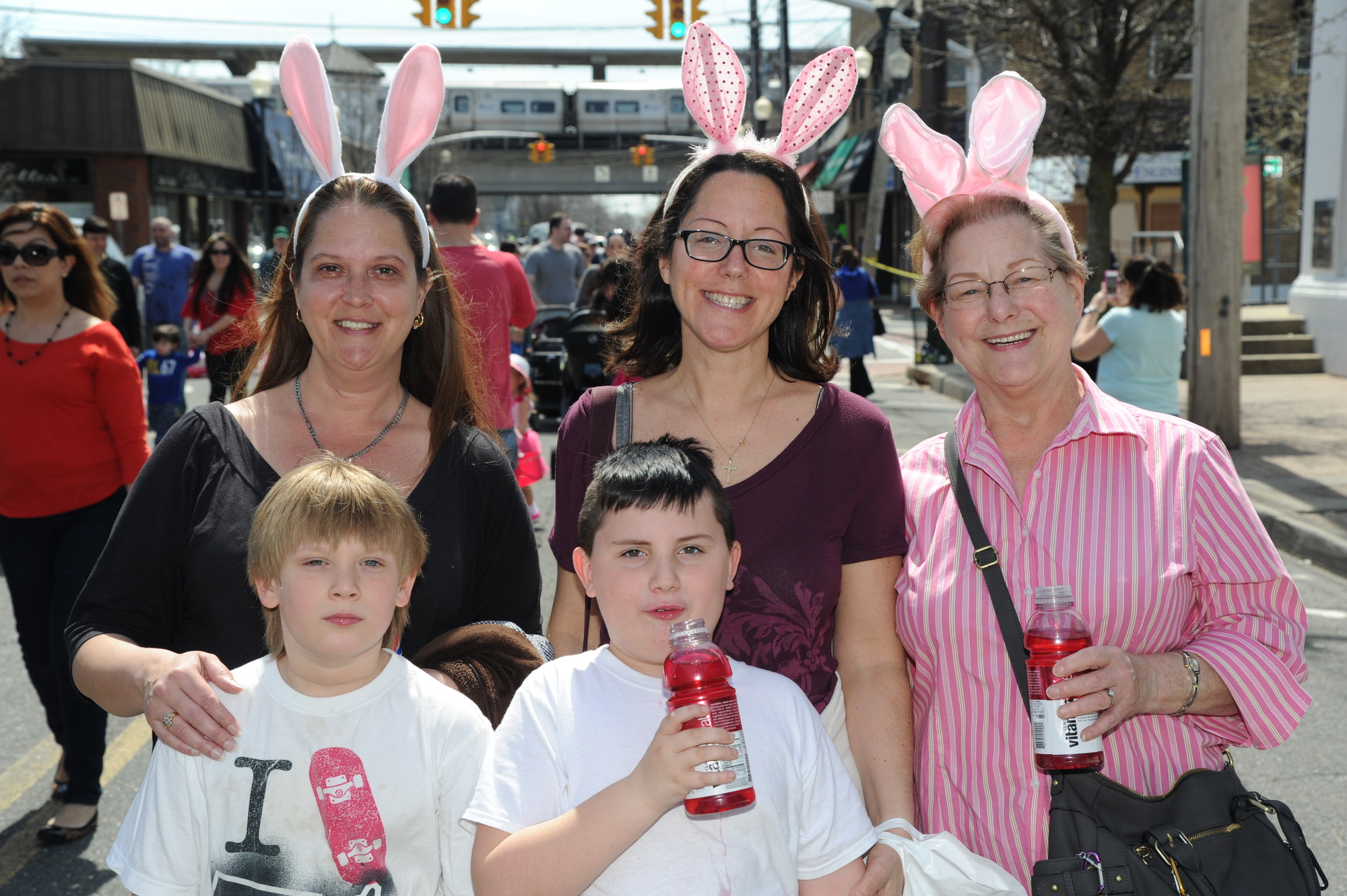 Cathryn and Tyler Casesi, left, Mary and Charlie Leschinski and Jessica Gregorio were dressed for last Saturday's occasion ­— the annual Easter Parade, sponsored by the Chamber of Commerce of the Bellmores.