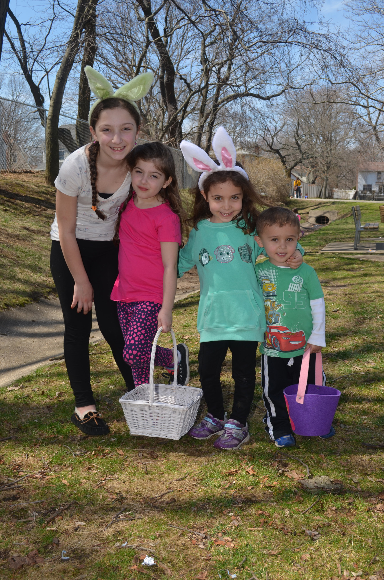 Emily and Jillian Nader, ages 10 and 6, and Ruby and Marcus Ciliabrasi, 6 and 3, were among the dozens of children who took part in the North and Central Merrick Civic Association's 2014 Spring Eggstravaganza last Saturday at Fraser Park in North Merrick.