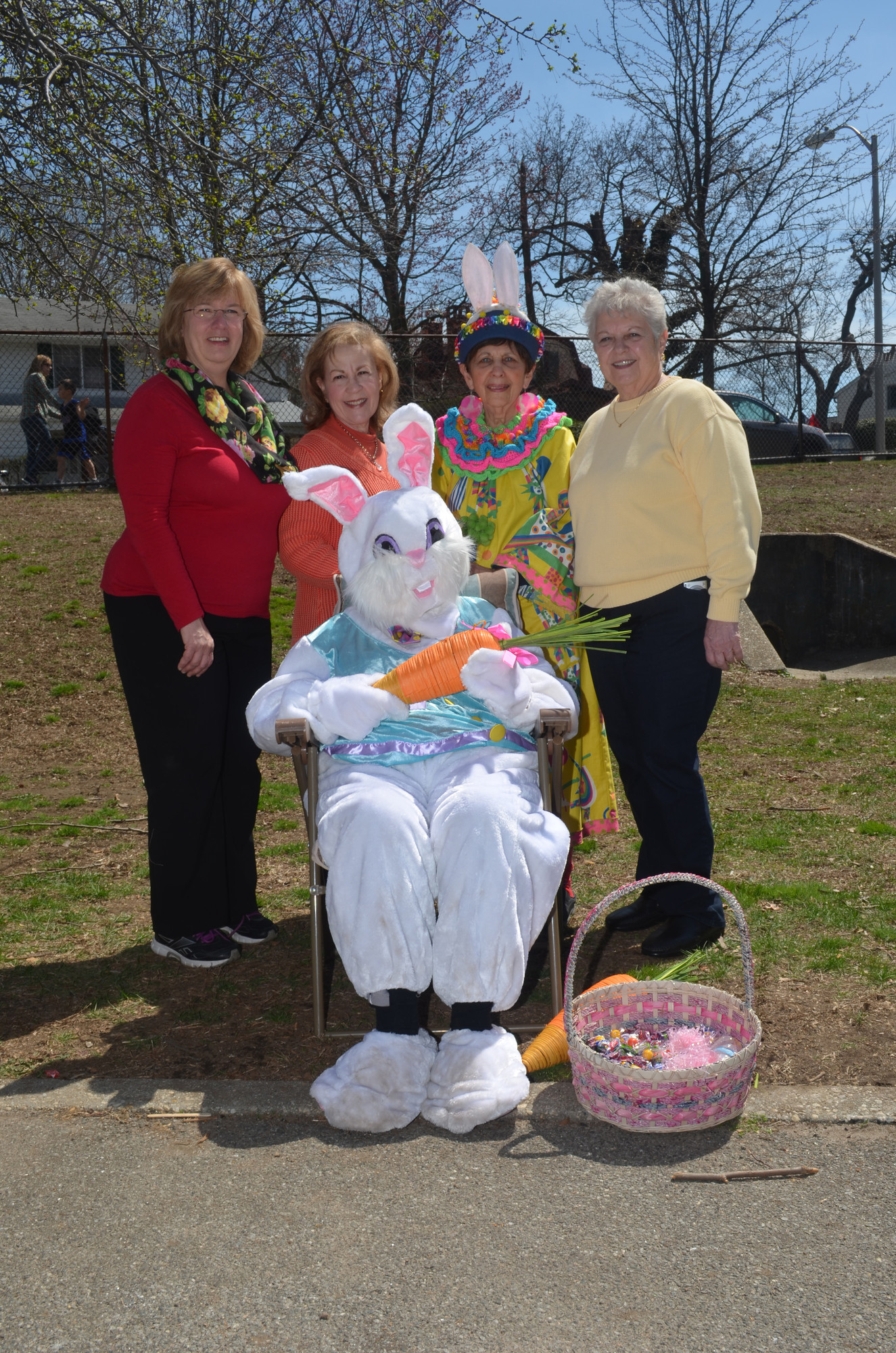 Claudia Borecky, Sharon Williams, Betty Tucker, Palma Fasano and the Easter Bunny played parts in organizing the Spring Eggstravaganza.