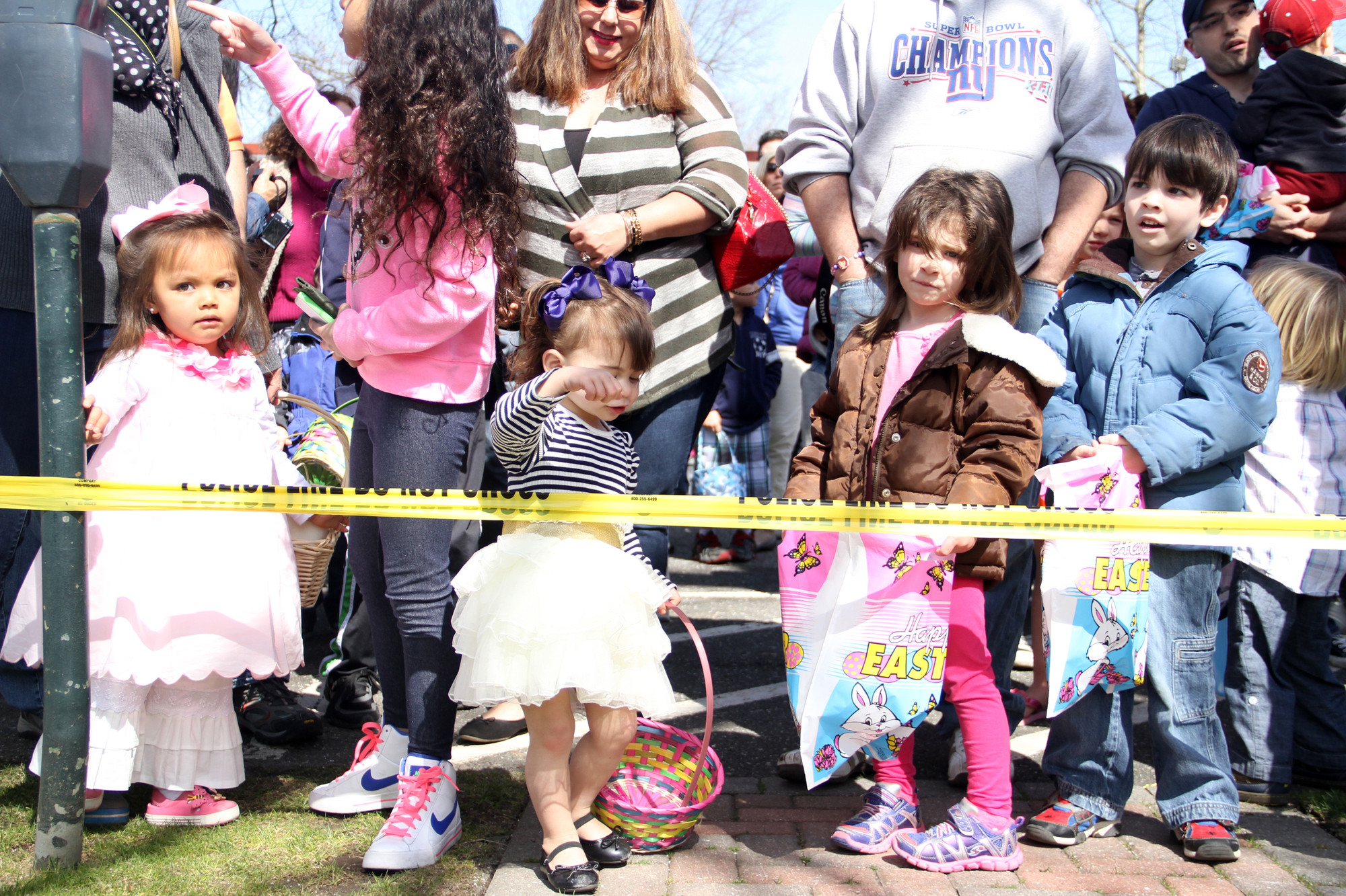EGG HUNTERS Ava Intal, Annamaria Agopian, Isabella Tjaden and Tyler Tjaden were some of the first to arrive at this year�s search, itching to cross the starting line.