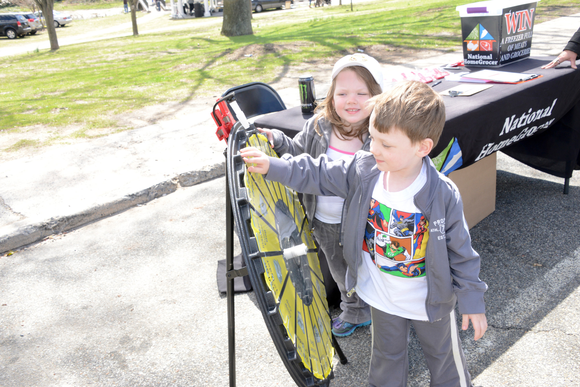 Eibhlin and Thomas Moriarty spun a wheel for a prize at this year's fair.