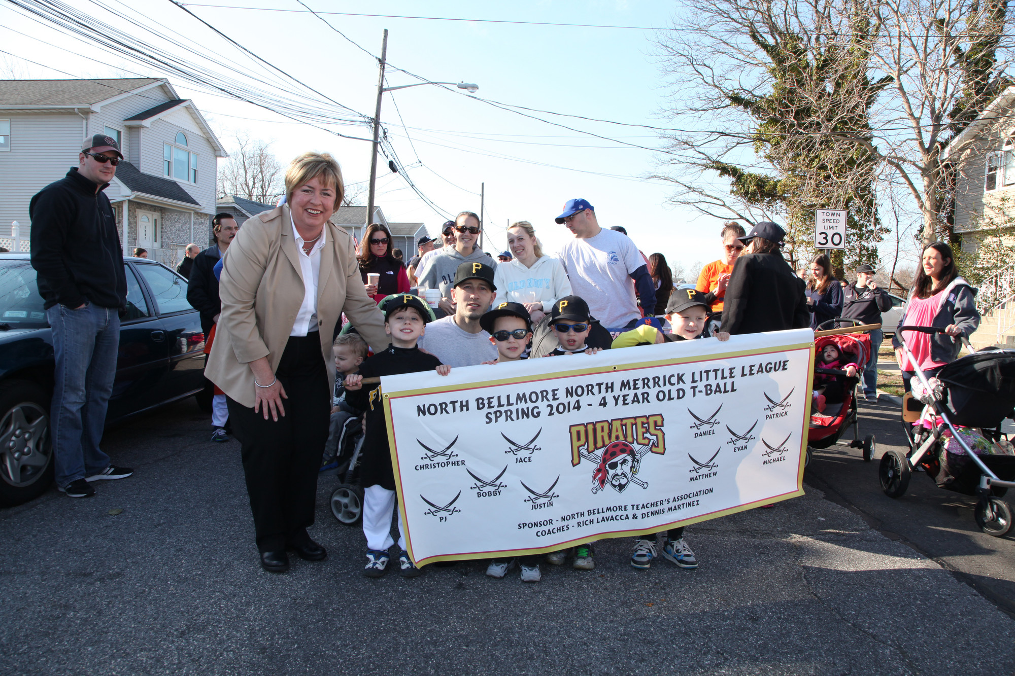 Hempstead Town Supervisor Kate Murray met with the Pirates, a 4-year-old T-ball team, and their coach, Rich LaVacca.