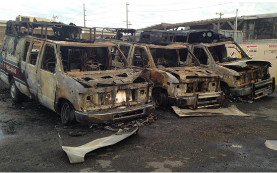 A Friday morning blaze engulfed three First Response ambulances in Inwood on May 2.