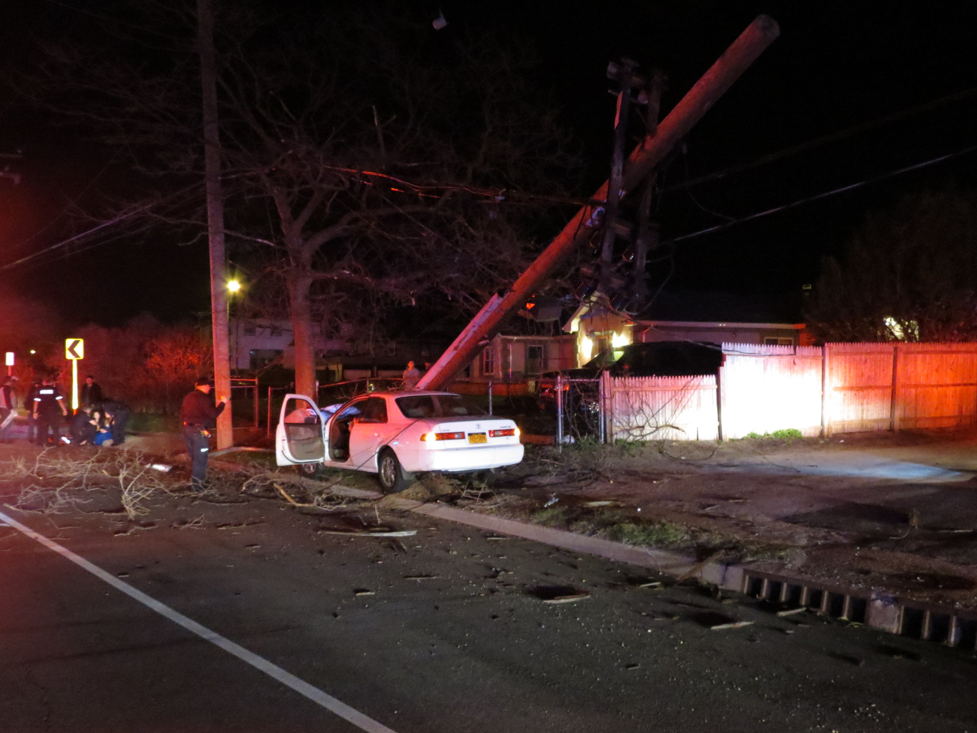 Police said a women heading east on Park Avenue near Maple Boulevard was injured when she crashed into a light pole and tree early Sunday morning. She was arrested and charged with DWI.