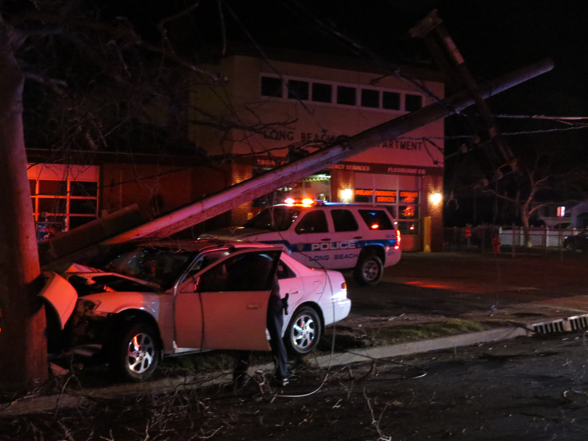 The car knocked over a electrical pole in front of the Maple Boulevard firehouse, and PSEG crews were called in to make the necessary repairs.