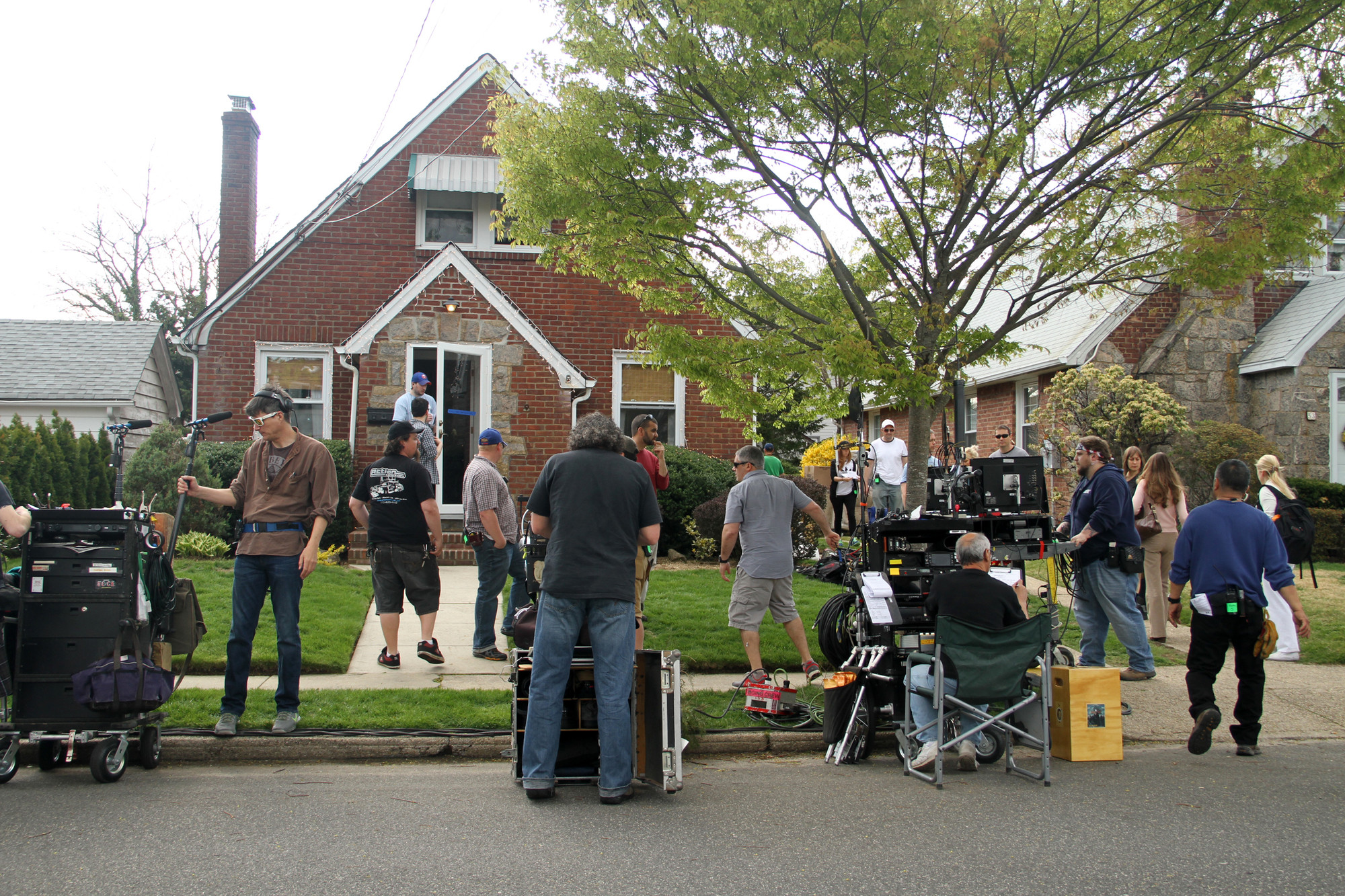 A production crew prepared to shoot a few scenes inside a North Cambridge home last Friday.