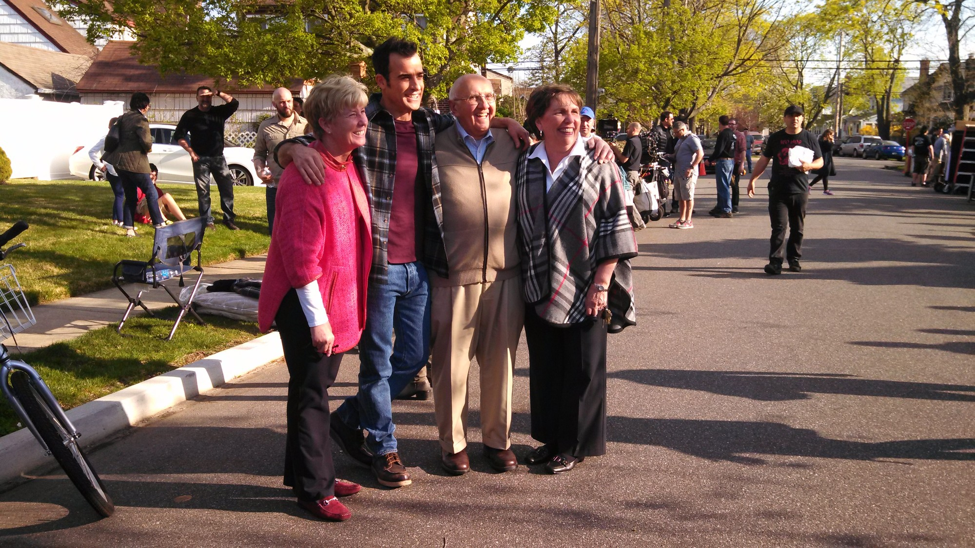 "Mayor Patricia McDonald, far left, Former Mayor Joe Canzonery, second from right, and his wife Judy with Justin Theroux, one of the stars of the upcoming HBO series ""The Leftovers,"" which filmed scenes in the village last Friday and Saturday."