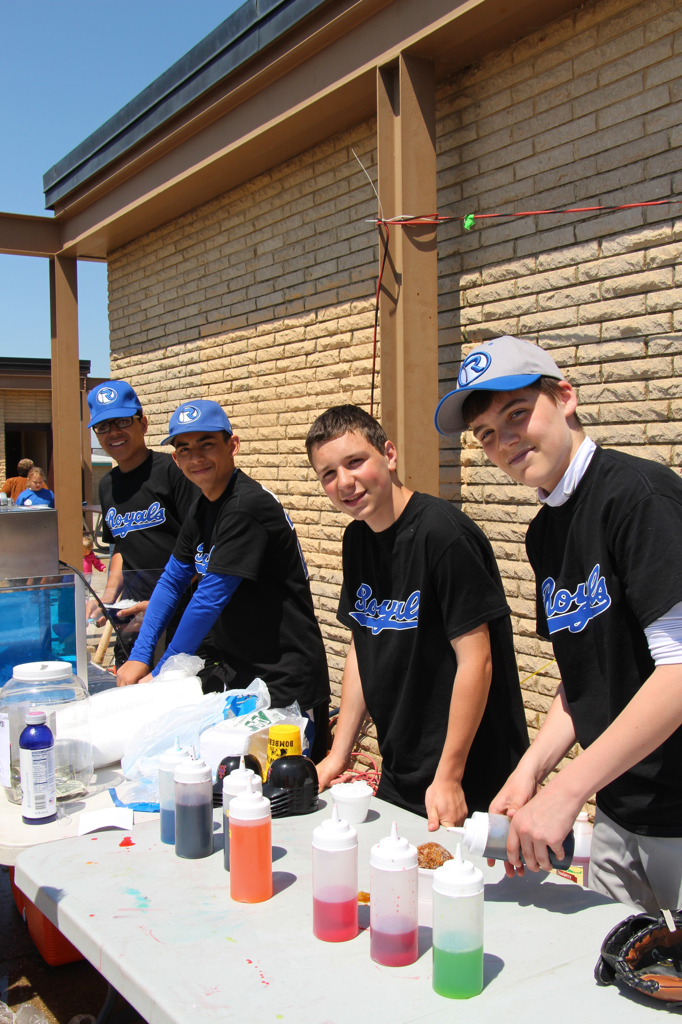 The Royals helped out with some refreshments.From left are Lino Peralta, 15,  Walter Argueta, 14, Christopher Moro, 14, and  Wally Melvin, 14.