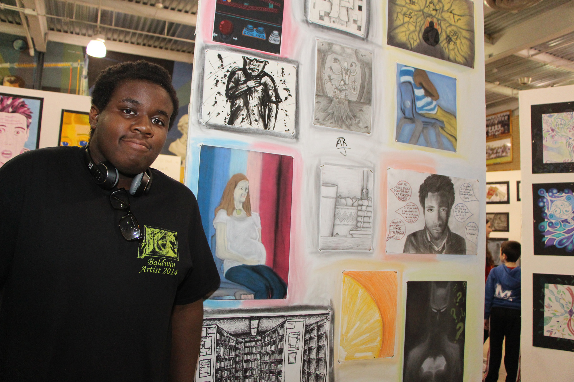 Baldwin high School students had many pieces of their artwork on their own display, including senior Avery Reid, during the school's ninth annual Evening Art Exhibition on April 29.
