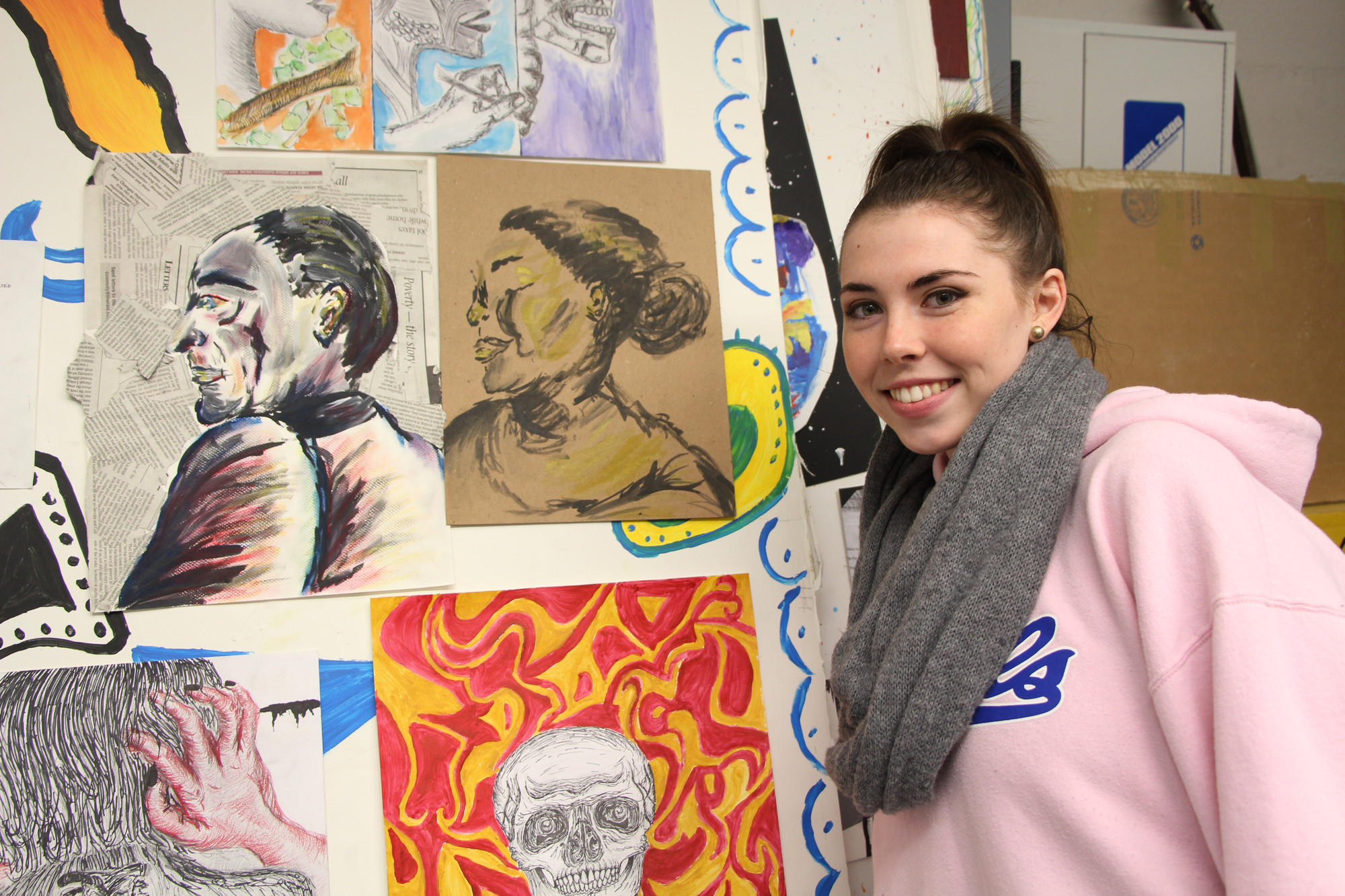 Caitlin Airey, 17 and a BHS senior, had several works of art on display. She used chalk, paints, pencils and markers to make her illustrations come to life.