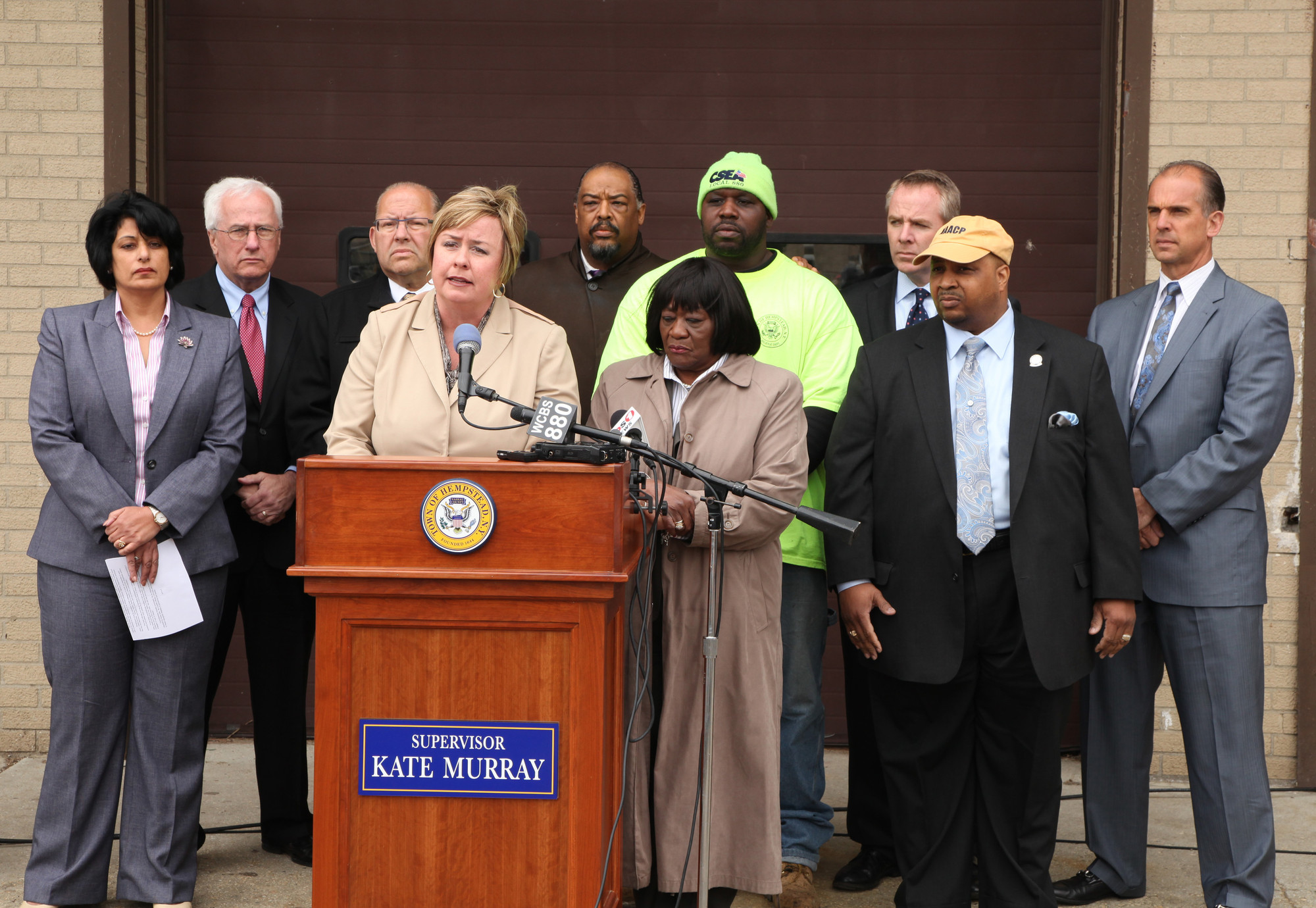 Hempstead Town Supervisor Kate Murray and other town officials, Jimmy Howard, center right, and African-American clergy members and community leaders said they would not tolerate hateful and bigoted acts.