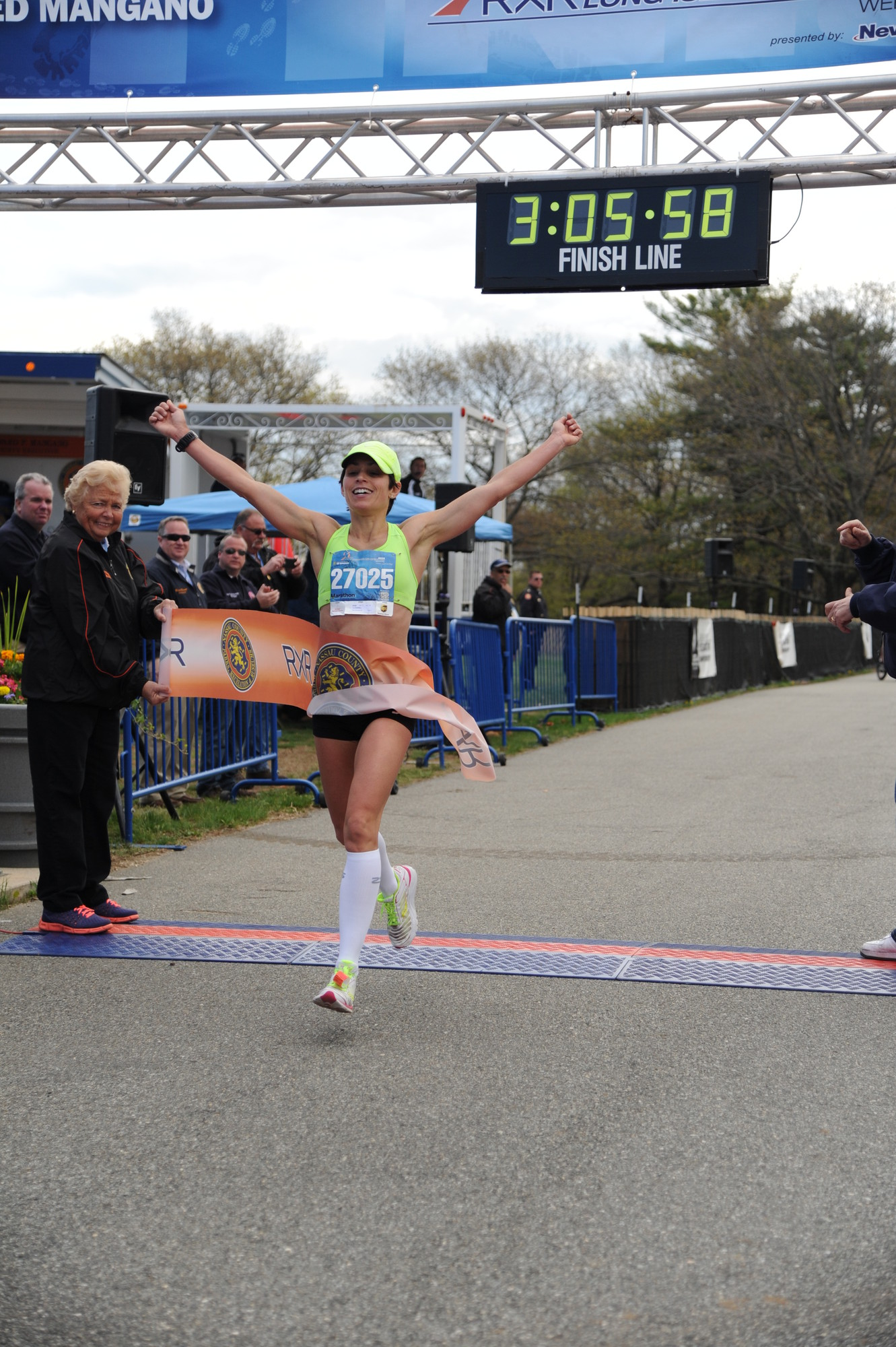 Tara Farrell, 35, of East Quoque, was the first female finisher of the 26.2-mile race.