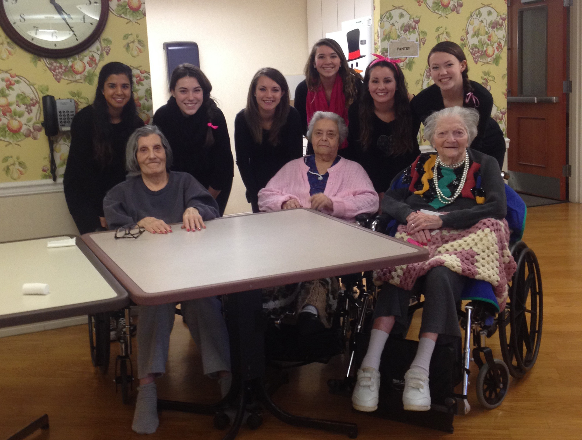 Calhoun Glamour Gals members, from left, Jackie Chin, Alison McCutchan, Sarah Protan, Cameron Morales, Sarah Sandler and Claire Murphy visited with seniors at the Belair Nursing Home in North Bellmore in January.