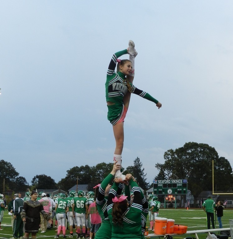 Seaford cheerleaders practice before a home game.