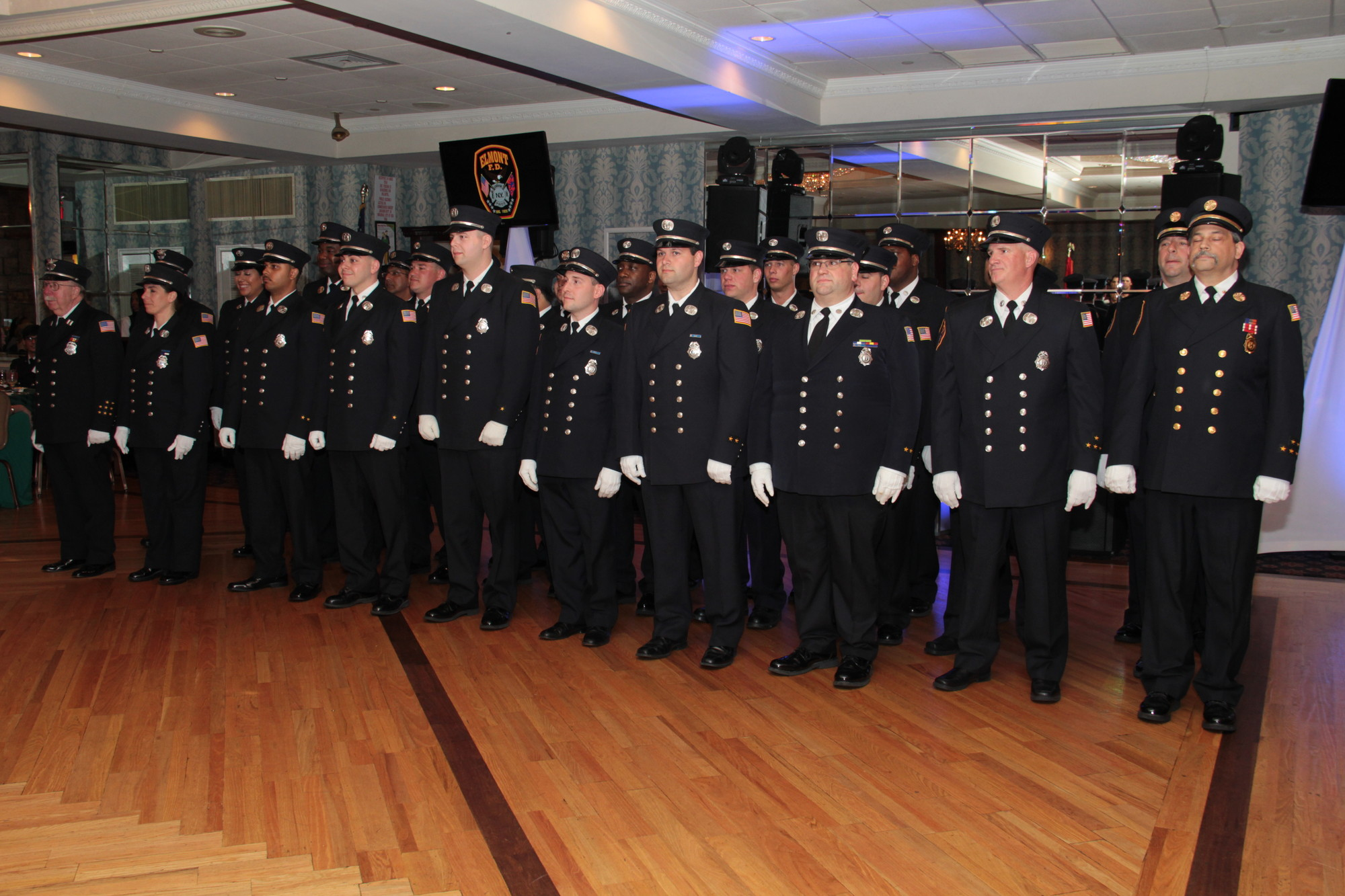 Members of the Elmont Fire Department looked sharp at the 86th department installation.