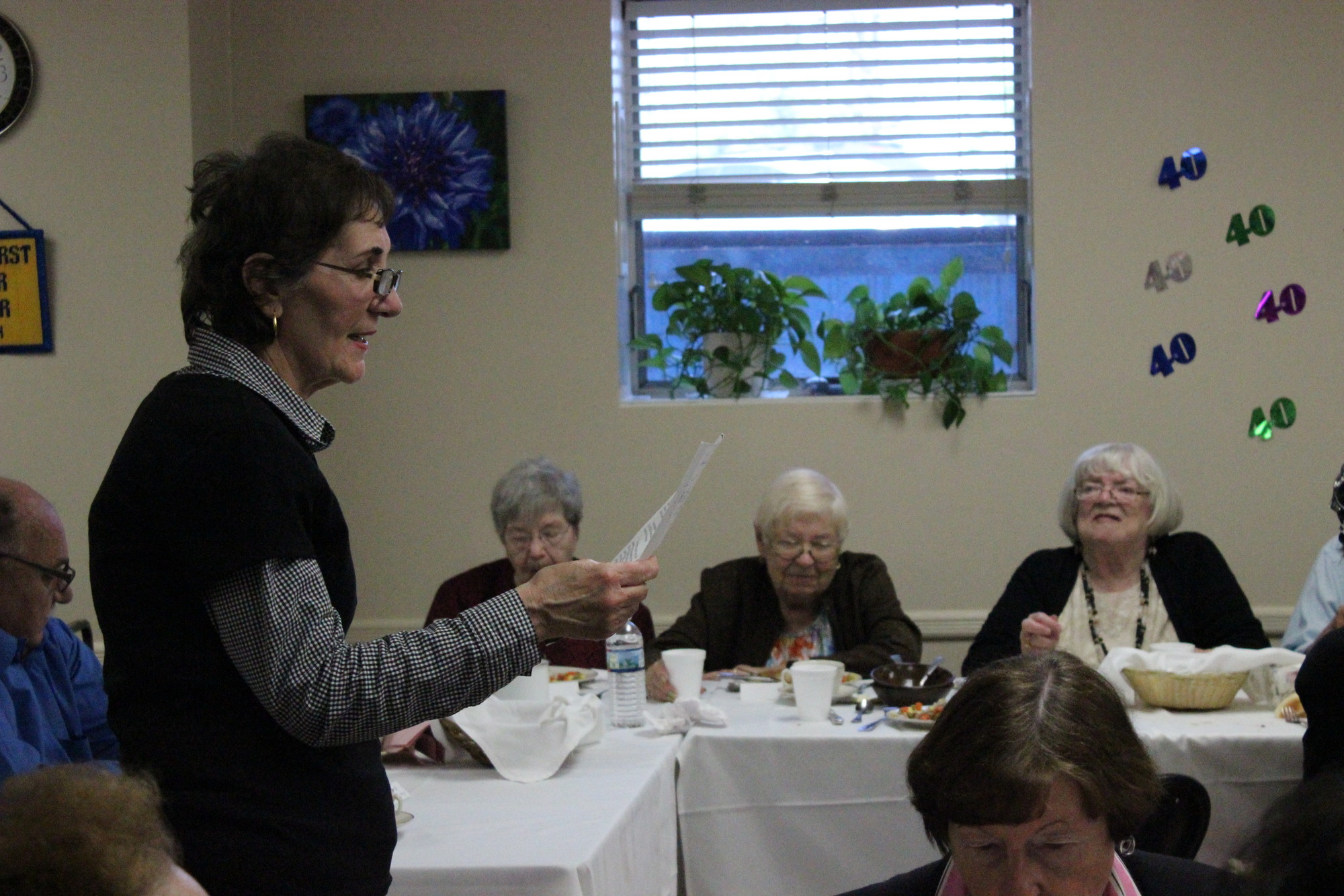 The Village of Cedarhurst senior center celebrated its 40th anniversary Monday. Woodmere resident Rosalie Benenati expressed her appreciation for the center's programs.