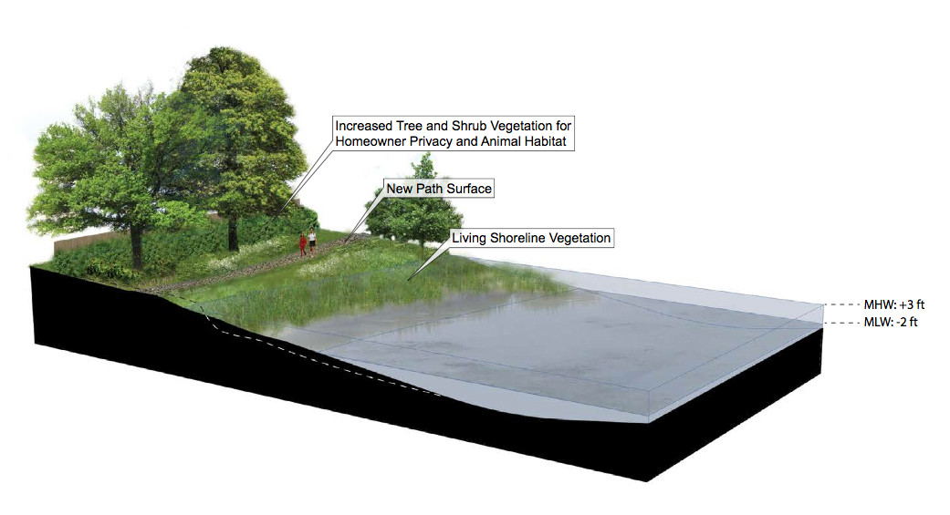 "A new design is planned for the shoreline along ""the Path."""