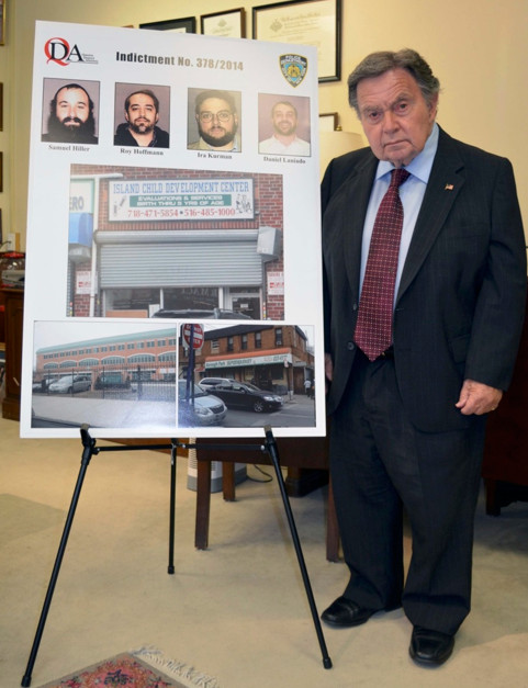 Queens District Attorney Richard Brown announced the indictments of four men, including a pair of Five Towns residents, who allegedly stole more than $12.4 million from a Far Rockaway pre-school for children with special needs.