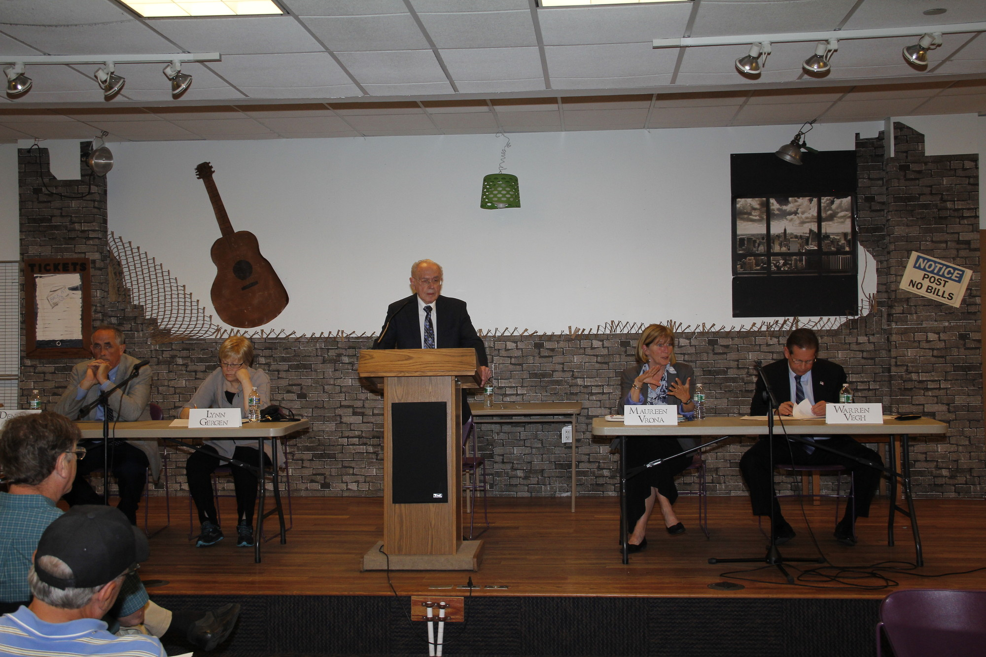 School board candidates squared off at a forum at the library last week.