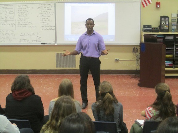"Emmanuel Habimana, a Rwandan filmmaker and lecturer who as a young boy in 1994 survived the Rwandan Genocide, addressed students in March at Calhoun High School. He was a guest speaker in social studies teacher Dr. David Goldberg's ""Voices of the Past"" class, which deals with human rights violations in the 20th and 21st centuries."