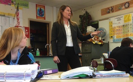 "Nora Sheppard, a Merrick Avenue Middle School science teacher, taught in her classroom Monday morning. She is one of 42 Long Island teachers whom the state has accepted into its new ""Master Teacher"" program."