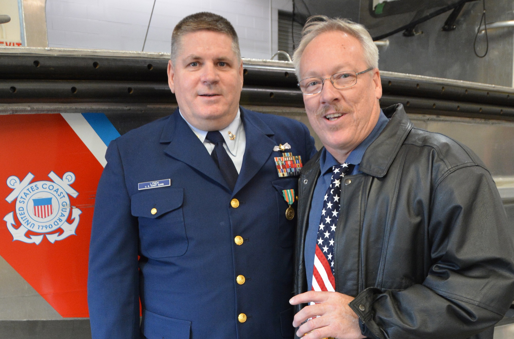 Lynch posed with longtime friend, Eric Mathison, right, with whom he joined the U.S. Coast Guard in 1982 after graduating Baldwin High School.
