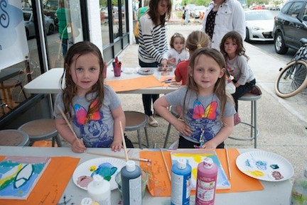 Machara and Finella Moriarty participated in Earth Art's children's art projects.
