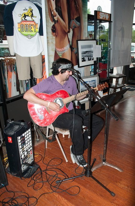 Micheal Caprino, from Long Beach Music Store, performed at the event.