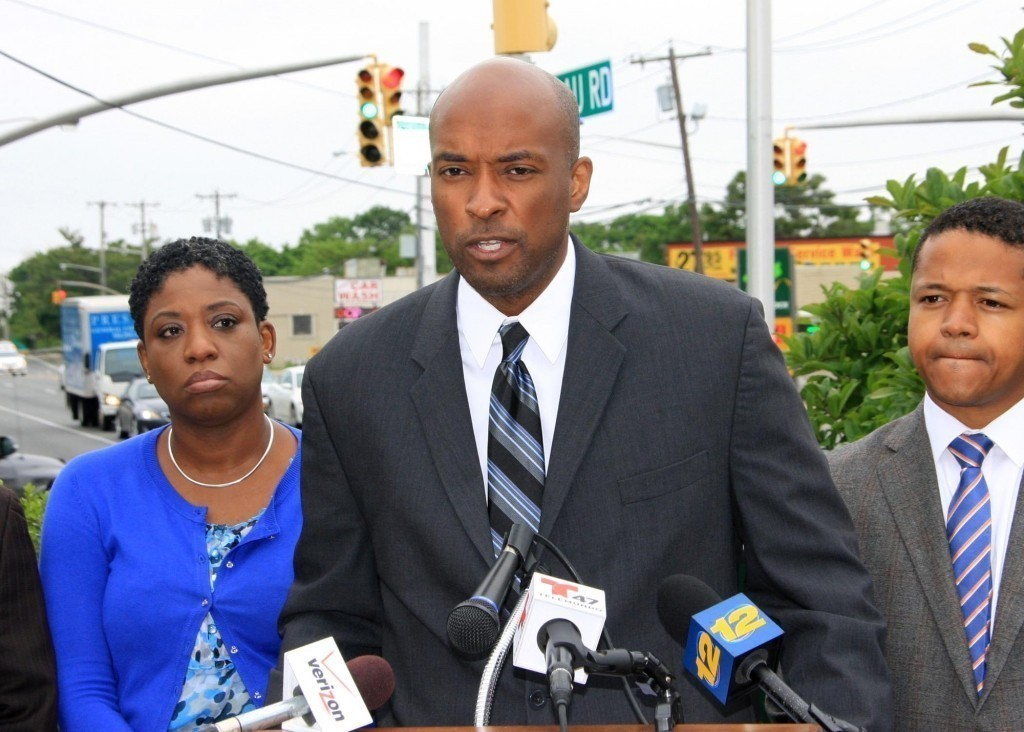 Legislators Siela Bynoe (D-Westbury), left, Kevan Abrahams (D-Freeport) and Carrie Solages (D-Elmont) in Uniondale on May 28.