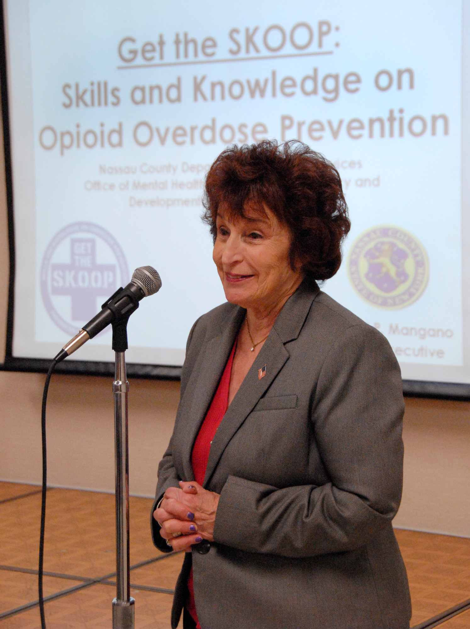 Norma Gonsalves, the Nassau County's Legislature's presiding officer, brought the Narcan training to East Meadow on  May 28.